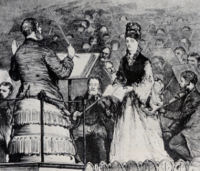 A sketch entitled 'A Solo' from Graphic, 27 June 1874.