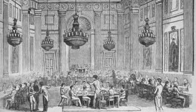 Drawing of a meeting of The Madrigal Society from Illustrated London News, 24 January 1846.