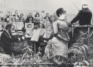 Drawing of a concert in aid of the new Royal College of Music. Illustrated London News, 23 December 1882